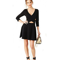 Black Cross Front Knitted Mini Dress