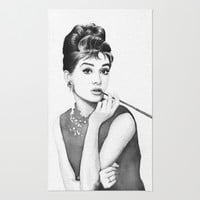 Audrey Hepburn | Watercolor Painting Rug by Olechka