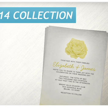 Trendy Floral Yellow Wedding Invitations | Invites | Invitation Cards