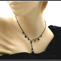 Black Crystal & Pewter Y Necklace / Choker, Long Center Drop, Black Rhinestone Necklace, Black Necklace, Gift For Her, Gift for Teenager