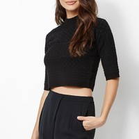 Kendall & Kylie Textured Cropped Mock Neck Sweater - Womens Sweater - Black