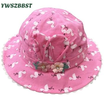 Summer Sun Hat for Girls Flowers Print Toddler Baby Girls Hats Autumn Kids Beach Bucket Cap Children Sunscreen Cap Accessories
