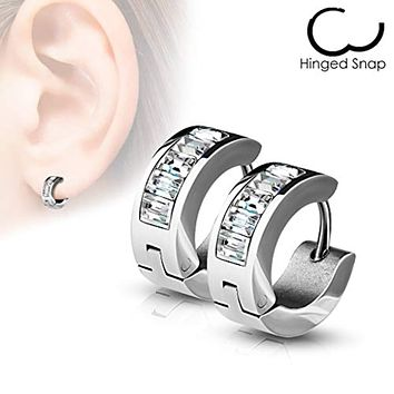 WildKlass Pair of Lined Square Gems Set Front Stainless Steel Hoop/Huggie Earrings