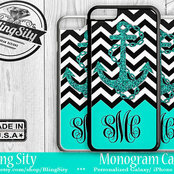 Monogram iPhone 5C 6 Plus Case iPhone 4S 5S Case Ipod 4 5 6 Aqua Teal Anchor Chevron Personalized Cell Phone Case Zig Zag
