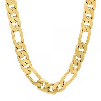 Gold Layered Basic Necklace, Figaro Design, Gold Tone