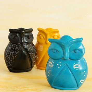 Friendly Fowl African Soapstone Owl Statue