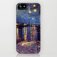 Starry Night over the Rhone, Vincent van Gogh.  Landscape oil painting fine art. iPhone & iPod Case by NatureMatters