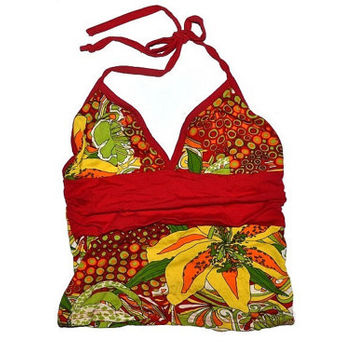 90s Halter Top Red Yellow Green Orange Floral Vintage 1990s Small S XS