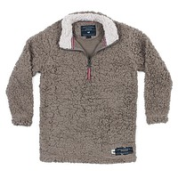Youth Appalachian Pile Sherpa Pullover in Light Brown by Southern Marsh - FINAL SALE