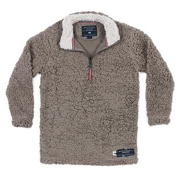 Youth Appalachian Pile Sherpa Pullover in Light Brown by Southern Marsh