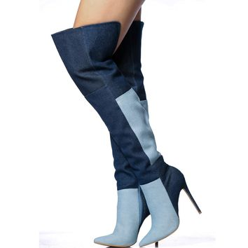 Patchwork Color Block Denim Stiletto High Heel Pointed Toe Over the Knee Long Boots
