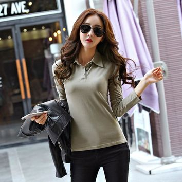 Fashion Autumn Summer Casual Polo Women 2017 New Long Sleeve Slim Polos Mujer S-2XL Tops Women For Lady Polo Shirt Femme CS152