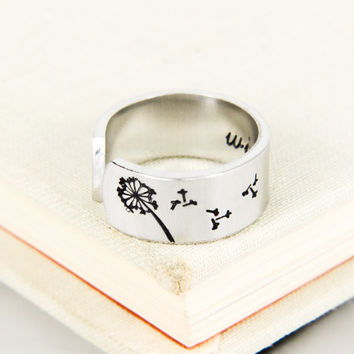 Dandelion Wish Ring - Inspiriational Rings - Adjustable Aluminum Ring
