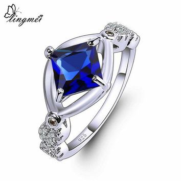 lingmei New Hot Sell Princess Multicolor & Royal Blue Purple White CZ Silver Color Ring Size 6 7 8 9 High Quality Women Jewelry
