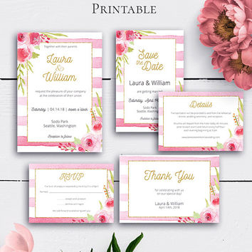 Blush Wedding Invitation Suite, Personalized Watercolor Floral Stripes Invitations, Details Card, Save the Date, RSVP Card, Gold Glitter