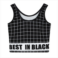Black Plaid Cropped Tank Top