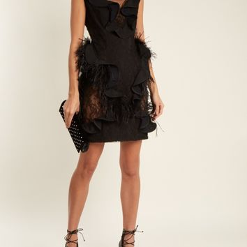 Feather-trimmed sleeveless lace dress | Emilio De La Morena | MATCHESFASHION.COM US