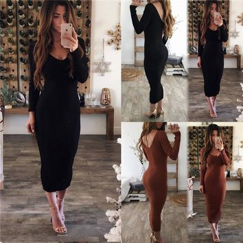 Sexy skinny sweater dress long solid knitted femme autumn backless dress 2019 spring vintage streetwear women bodycon dress