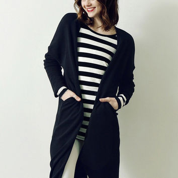Black Long Sleeve Long Coat with Pocket