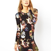 Brave Soul Bodycon Dress In Skull Print at asos.com
