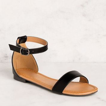 Viola Black Ankle Strap Sandals