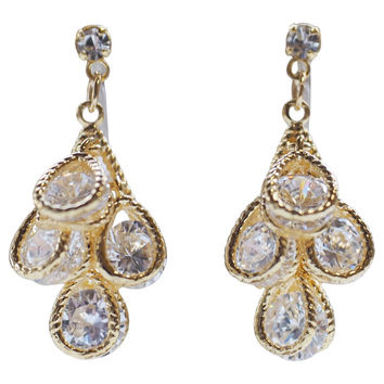 Gold Bridal Cubic Zirconia Invisible Clip On Earrrings Dangle Wedding Crystal Clip Earrings Teardrop CZ Clip-Ons Non Pierced Earrings