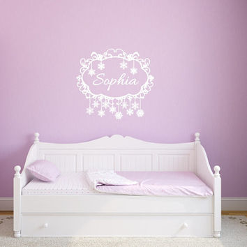 Frozen Snowflakes Swirly Frame Personalized Nursery Girls Room Custom Vinyl Wall Decal 22481