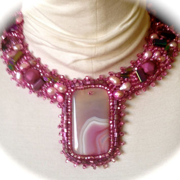 HOT PINK Bead Embroidered Collar, Necklace, Pink Cultured Pearls, Pink and White Pendant,