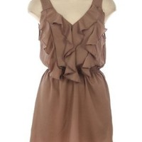 G2 Chic Ruffle Detailed Sleeveless Woven Dress(CLT-DRS,LBN-M): Clothing