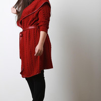 Knitted Longline Wide Collar Cardigan
