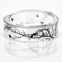 Fashion Handmade Ring Inside Tree Bird Ink Painting Scenery Jewelry up-to-date