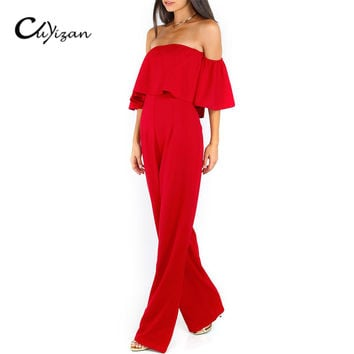 CUYIZAN Women off shoulder jumpsuit romper Sexy short sleeve bodysuit rompers womens jumpsuit Wide legs Playsuit Overall Macacao