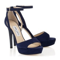 Navy Suede Platform Sandals | Kayden | Spring Summer 15 | JIMMY CHOO Shoes