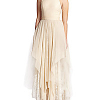 Alice + Olivia - Jennifer Mixed Media Gown - Saks Fifth Avenue Mobile