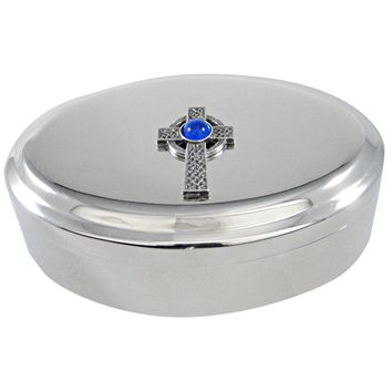Textured Large Celtic Cross with Blue Center Pendant Oval Trinket Jewelry Box