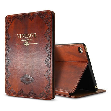 Retro Vintage Leather Tablet Case for iPad Air 2 Air2 9.7'' Tablet PC Cases Mosiso Ultra Slim Flip Smart Cover Wake Sleep