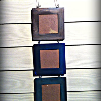 Wooden Hand Painted Hanging Tryptic Picture Frame for Three Photographs, Brown, Blue, Green