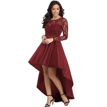 Burgundy Long Sleeve Lace High Low Satin Prom Dress
