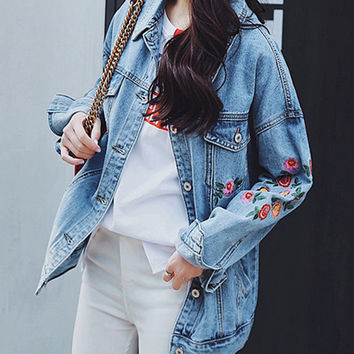 Flower Embroidered Women Denim Jackets 2017 All Season Plants Pattern Vintage Loose Jeans Coat Female Temperament Outerwear