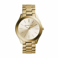 GK2JE Michael Kors Women's 41mm Stainless Steel Goldtone Slim Runway Watch