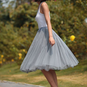 Tulle Skirt Tea length Tutu Skirt Knee length tulle tutu Princess Skirt Wedding Skirt in Grey - NC455