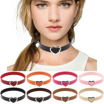 1 Women Punk Style Goth PU Leather Heart Buckle Collar Choker Chain Necklace Men Statement