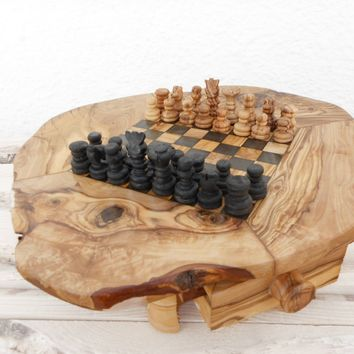Dad Gift Rustic Wooden Chess Board Set, Boyfriend gift, Christmas Gift