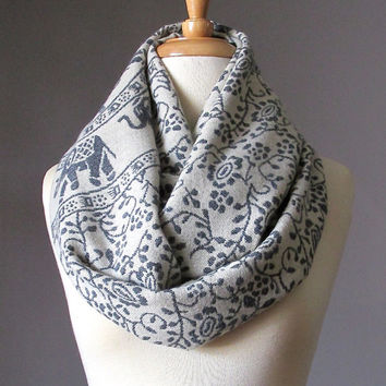 Winter scarf, Off white scarf, Elephant infinity scarf, ethnic scarf, tribal scarf
