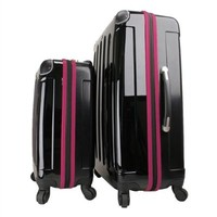 "Swiss Case 28"" BLACK/PURPLE 4 Wheel Hard Suitcase + FREE Carry-on 20"" luggage set"