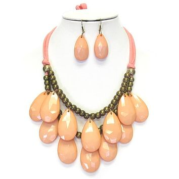 Double Layer Chunky Teardrop Tie Back Necklace Set