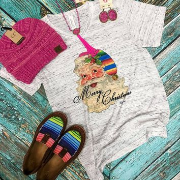Merry Christmas serape v-neck tee