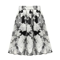 Trendy Style Peony Print Organza Ball Gown Women's Skirt