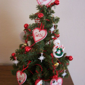 Family Christmas Tree with lights, personalized themed ornaments and name tags. 12 inch tree. Custom made to order