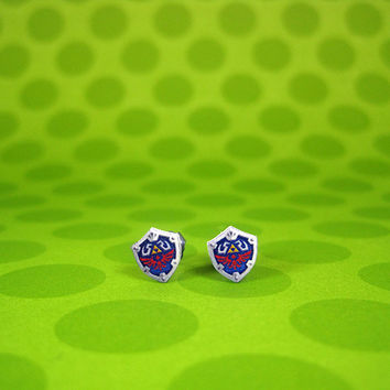 Legend of Zelda Tiny Hylian Shield Earrings by SweetWhatevers